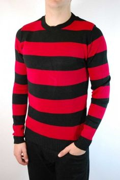 Men's black and red striped grunge jumper