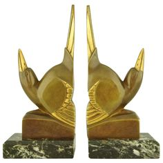 Pair of Art Deco Bronze Bird Bookends by G.H. Laurent | From a unique collection of antique and modern bookends at http://www.1stdibs.com/furniture/more-furniture-collectibles/bookends/