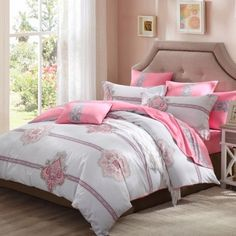 Light Gray and Pink Girls Stripe Tribal Print Western Style 100% Cotton Damask Microfiber Fabric Full, Queen Size Bedding Sets