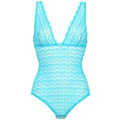MIMI HOLLIDAY Techno Cotton Lace Bodysuit (1 200 ZAR) ❤ liked on Polyvore featuring intimates, shapewear, bodysuits, lingerie, tops, body, swimwear and turquoise