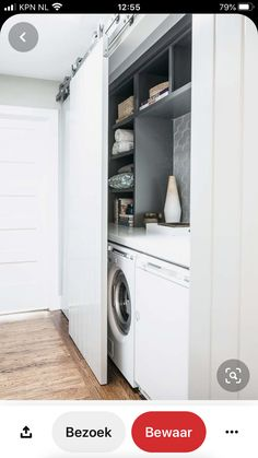 Stacked Washer Dryer, Washer And Dryer, Laundry Design, Washing Machine, Beach House, Home Appliances, Room, Diy Home, Beach Homes