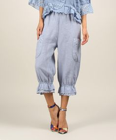 Another great find on #zulily! Sky Vicky Linen Crop Pants by Chic Dressing #zulilyfinds