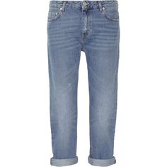 Acne Studios Pop Light Vintage boyfriend jeans ($270) ❤ liked on Polyvore featuring jeans, frayed jeans, cropped jeans, blue jeans, boyfriend fit jeans and vintage jeans