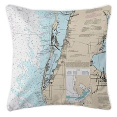 Nautical Chart Pillow-Clearwater