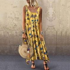 The cute mega printed sleeveless loose round collar dress with sleeveless is so casual and it is a good choice of fashion and you will love it. Summer Dresses Sale, Summer Dresses For Women, Dress Summer, Spring Summer, Maxi Dress With Sleeves, Short Sleeve Dresses, Tank Dress, Short Sleeves, Long Sleeve