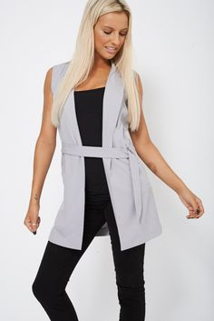 00de14dbbdc Grey Tailored Open Long Cardigan With Belt ( also in plus sizes) Long  Cardigan