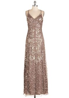 Fancy From Now On Dress. From the moment you fancy up in this taupe gown, you take on a gloriously luxe air! #gold  #modcloth