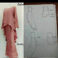 High low hem tunic pattern kinda blue and white Long Dress Patterns, Frock Patterns, Dress Sewing Patterns, Blouse Patterns, Clothing Patterns, Skirt Sewing, Pattern Sewing, Blouse Designs, Abaya Pattern