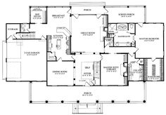 Colonial Country Farmhouse Plantation House Plan 86143 Level One