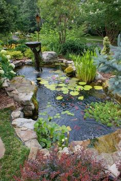 32 small fish pond designs are perfect for improving small g . - 32 small fish pond designs are perfect for improving small garden landscapes - Small Water Gardens, Fish Pond Gardens, Fish Garden, Vegetable Garden, Tropical Gardens, Garden Art, Garden Pond Design, Small Garden Landscape, Landscape Grasses