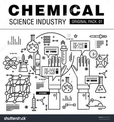 Modern Chemical Science Industry. Thin Line Icons Set Biology Technology…