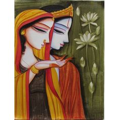RadhaKrishna of Gunjan. Indian Artwork, Indian Folk Art, Indian Art Paintings, Krishna Painting, Krishna Art, Fabric Painting, Painting & Drawing, Saree Painting Designs, Hindu Art