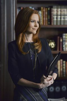 """Max Mara"" Brandy Coat with ""Boss"" Delmira Dress - worn by Darby Stanchfield (Abby) on Scandal, season 4."