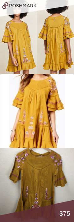 3a1fb62d334 NWT Free People Pavlo Gold Dress New with tags in perfect condition Size S  Length approx