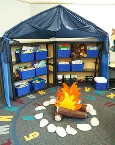 My camping theme this year. The reading tent! Classroom Decor Themes, Classroom Setup, Classroom Design, School Classroom, Classroom Door, Outdoor Classroom, Kindergarten Classroom, Classroom Organization, Camping Room