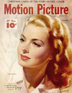 motion picture, movie magazin with beautiful fashion/ portrait illustration. Bradshaw Crandell.