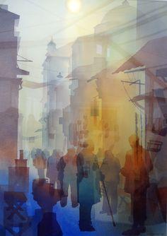 ali yanya - group portrait using colour masking/acetate/tissue Watercolor Artists, Watercolour Painting, Painting & Drawing, Watercolors, Artist And Craftsman, People Art, Schmuck Design, Figurative Art, Painting Techniques