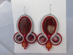 Eye-caching real agate stone red earrings soutache
