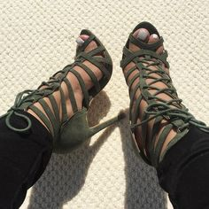 Olive Faux Suede Cage Lace Up Single Sole Heel