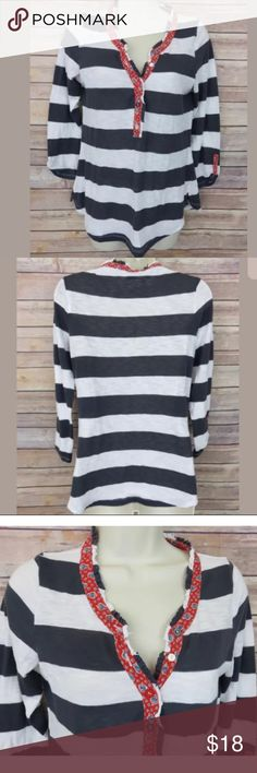 """Postmark Anthropologie striped roll sleeve top Postmark Anthropologie Small gray ivory striped henley top - Womens  Some light pilling from normal wash and wear No holes or stains Polyester/Cotton blend   Armpit to Armpit: 17"""" Shoulder to hem: 23"""" Anthropologie Tops Tees - Long Sleeve"""
