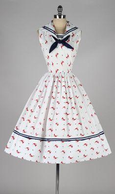 Sailboat Printed Cotton Sailor Dress, ca. 1950s
