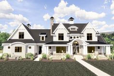 A covered porch with raised barrel-arch center greets you to this modern farmhouse plan. Two gables with an eyebrow dormer between them help lend the home great curb appeal.A curved stair greets you i House Plans 2 Story, Craftsman House Plans, Dream House Plans, Modern House Plans, House Floor Plans, Large House Plans, 4000 Sq Ft House Plans, Unique House Plans, Architectural Design House Plans