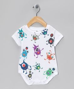 Love this White Monsters Everywhere Sublimation Bodysuit - Infant by Urs Truly on #zulily! #zulilyfinds
