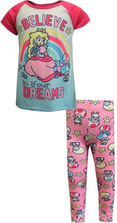 Super Mario Girls Princess Peach Believe In Your Dreams 2 Piece Pajama Sleepwear Set