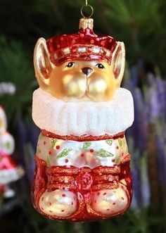 Patience Brewster French Bulldog Glass Ornament - Krinkles Christmas Décor New