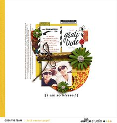 Gratitude Digital Scrapbook layout featuring MPM: Home and Gather by Sahlin Studio