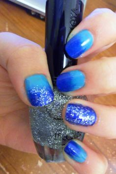 Blue Gradient Nails with Silver Sparkles