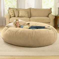 Flash Furniture Oversized Bean Bag Chair Brown