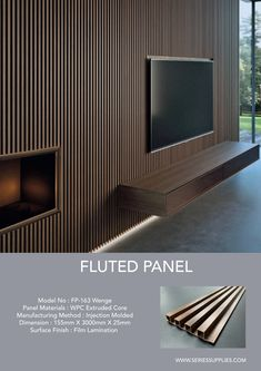 Create clean, crisp, continuous channels and shadow lines with Fluted Panel. This innovative and sophisticated product come in 3 different wood melamine finish (Oak, Walnut and Wenge ).Material made of WPC ( wood plastic composite ). Tv Feature Wall, Feature Wall Living Room, Feature Wall Design, Wall Panel Design, Tv Wall Design, House Design, Tv Wall Panel, Wood Feature Walls, Wood Slat Wall