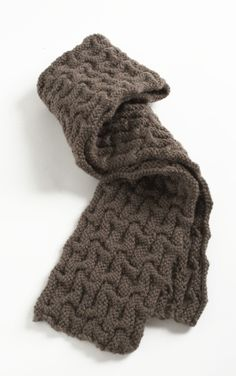 """Lauren Scarf"". Lion Brand Vanna's Choice yarn: 2 balls in Taupe. 5.5 mm circular needles (40 inches long)."
