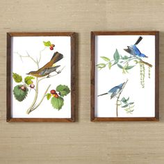 Woodland Birds Wall Art I   Mounted on reclaimed wood, these charming perched birds will brighten any room.