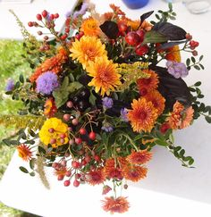 Rustic autumn bouquet from the gardens