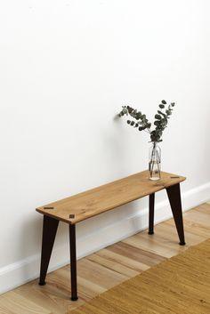 Rank Bench + flower vase Waxed Oak + Fumed Oak - Elastic storage system