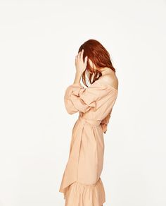 Imagine 4 din ROCHIE DIN POPLIN CU UMERI DESCOPERIŢI de pe Zara