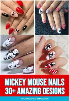 You'll love these magical Mickey Mouse nail designs…this is true nail art! You'll find acrylic, decals, Christmas, Halloween and many easy Mickey Mouse nails tutorials. Mickey Mouse Nail Design, Mickey Mouse Nail Art, Mickey Nails, Minnie Mouse, Disney Christmas Nails, Mickey Mouse Christmas, Magic Kingdom, Cruise Nails, Polka Dot Nails