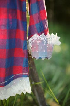 Flannel shirt with lace by RedRoosterCoop on Etsy, $25.00