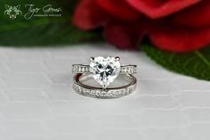 3.25 ctw Bridal Set Heart Cut Solitaire by TigerGemstones on Etsy