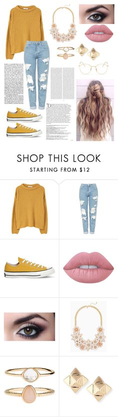 """""""Yellow 2"""" by paigevjacobs on Polyvore featuring MANGO, Topshop, Converse, Lime Crime, Accessorize, Valentino, Ray-Ban, Balmain and Oris"""