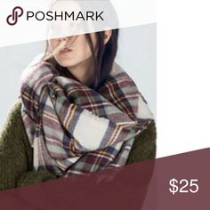 🍂SALE🍂Tartan Plaid Blanket Scarf Red, green, white tartan plaid scarf. 55x55 acrylic blanket scarf. (This item is not from Zara, I just put the brand for visibility) Zara Accessories Scarves & Wraps
