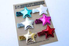 Metallic Star Hair Clip-Glitter Hair Clip-Alligator Clip-Hair Bow-Baby Girl-Toddler