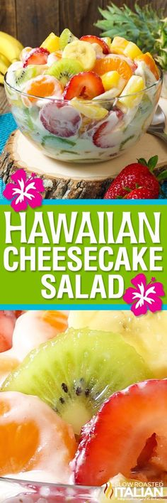 Hawaiian Cheesecake Salad comes together so simply with fresh tropical fruit and a rich and creamy cheesecake filling to create the most glorious fruit salad ever! Every bite is absolutely bursting with island flavor and you are going to go nuts over this Dessert Banana Split, Dessert Aux Fruits, Dessert Salads, Appetizer Dessert, Healthy Snacks, Healthy Recipes, Bariatric Recipes, Good Food, Yummy Food