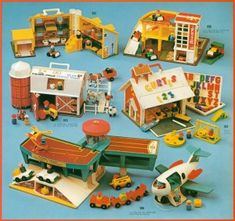 fisher price little people. stuff was missing by the time I got it either as hand me down or garage sale but we loved playing with little people. 1970s Toys, Retro Toys, Vintage Toys, Fisher Price Toys, Vintage Fisher Price, 90s Childhood, Childhood Memories, Toy Catalogs, Barbie