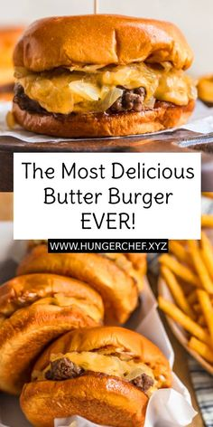 burger recipes The Most Delicious Butter Burger EVER! - Butter Burgers are the most delicious burgers ever, cooked and smothered in butter! This Delicious Butter Burger recipe is everything your dreams are made of, juicy, cheesy, and absolutely tasty. Hamburgers On The Stove, Hamburgers Gastronomiques, Beef Recipes, Cooking Recipes, Healthy Recipes, Simple Recipes, Delicious Burgers, Tasty Burger, Best Grilled Burgers