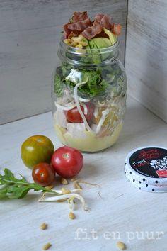 Salad in a Jar - Kip met Bacon