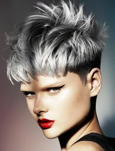grey rocking pixie hair