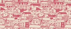 St Ives (211674) - Sanderson Wallpapers - Streets of houses printed in a naïve lino print style.  Shown in the Pink on Cream colourway. Wide width, paste the wall. Please request sample for true colour match.